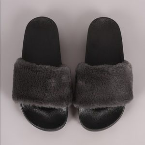 Shoes - Black soft fuzzy fur slip on sandals slides